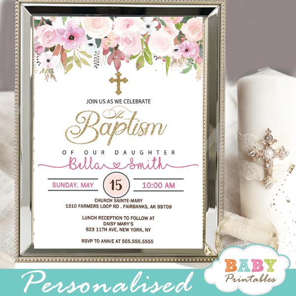 blush pink flowers baptism invitations girl invitaciones para bautizo