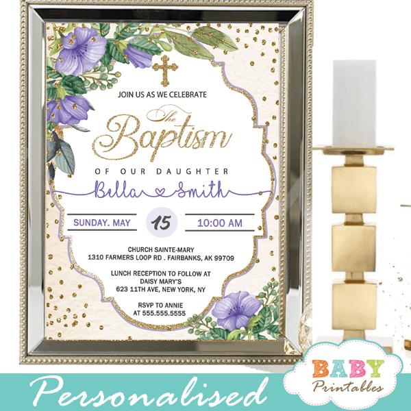 gold purple violet flowers baptism invitations girl invitaciones para bautizo