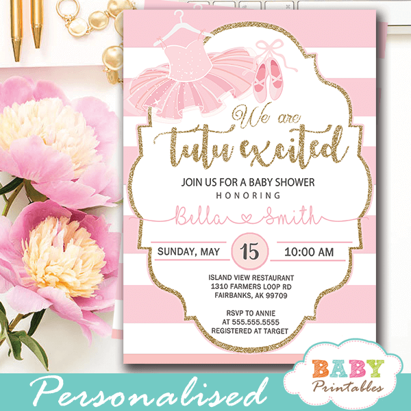 Tutu Baby Shower Invitations Pink And White Striped D450