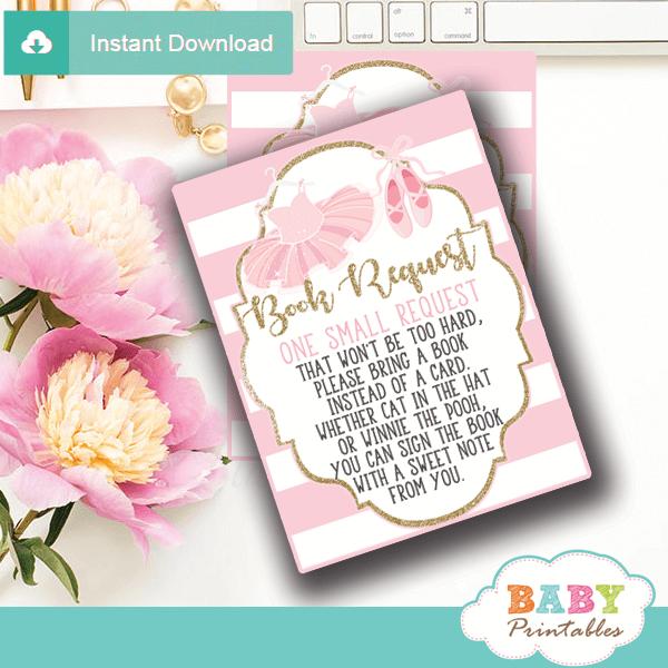 ballet ballerina tutu book request cards pink white gold
