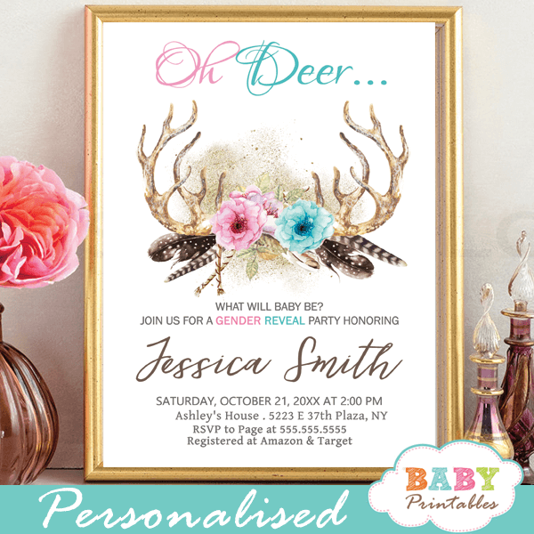 he or she pink vs blue deer antlers gender reveal invites boho chic flowers