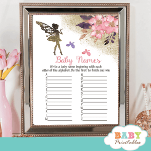 pink flowers and butterflies fairy baby shower games girl hand painted watercolor