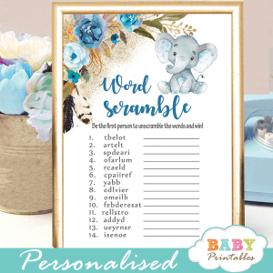 blue floral elephant baby shower games boy boho feathers little peanut