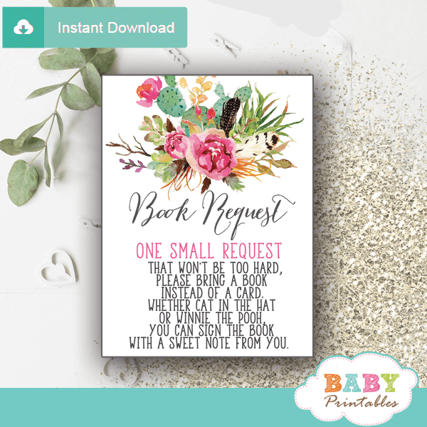 boho floral cactus books for baby cards succulent invitation inserts