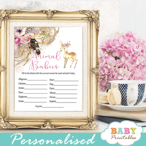 willow deer baby shower games floral pink watercolor girl woodland forest boho feathers antlers