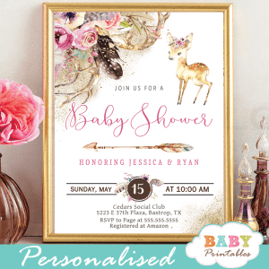 deer baby shower invitations girl boho feathers arrow pink antlers