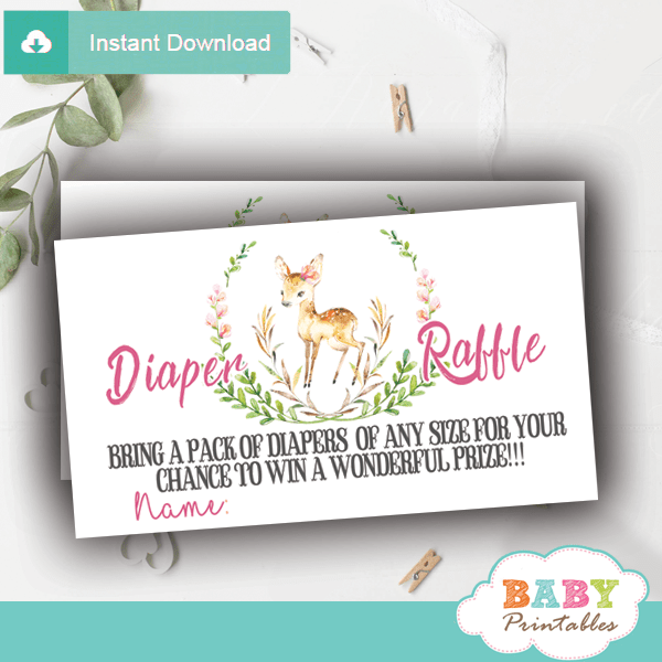 woodland forest floral wreath willow deer diaper raffle tickets girl pink blush