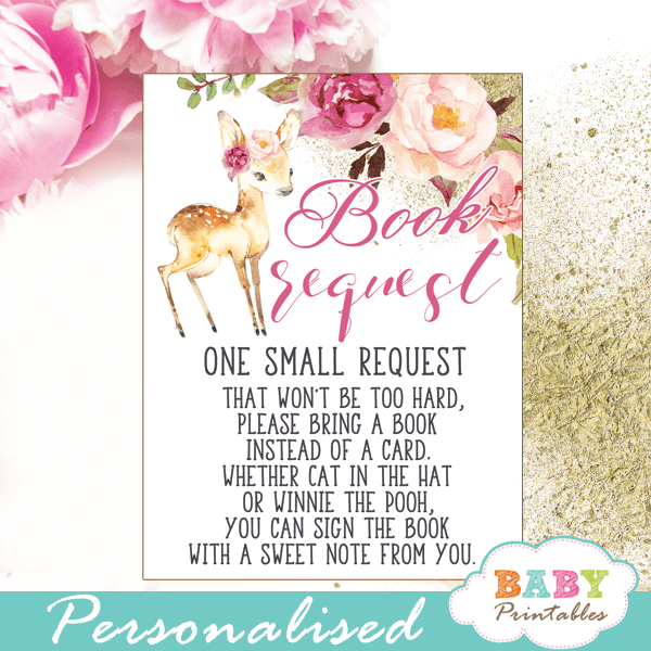 willow deer floral pink blush books for baby request cards forest woodland girl theme