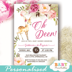 floral willow deer baby shower invitations girl blush pink flowers watercolor
