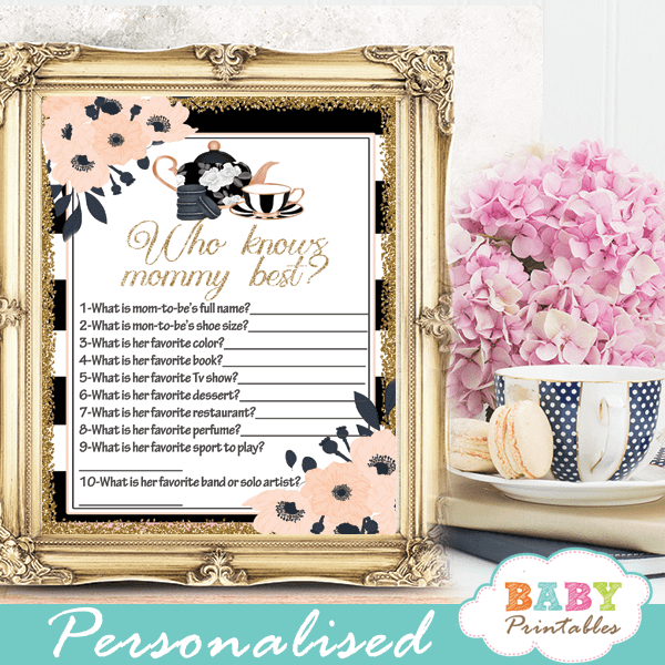 floral pink salmon tea party baby shower games girl black white stripes gold chic