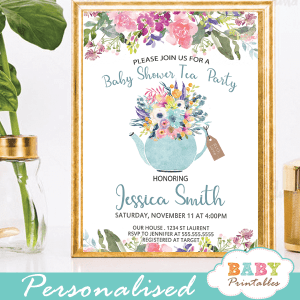 floral blue teal garden tea baby shower invitations boy