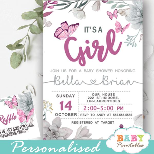 Succulent Pink Erflies Baby Shower Invitations D231