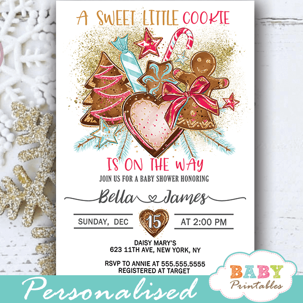 Gingerbread Cookies Christmas Baby Shower Invites D418