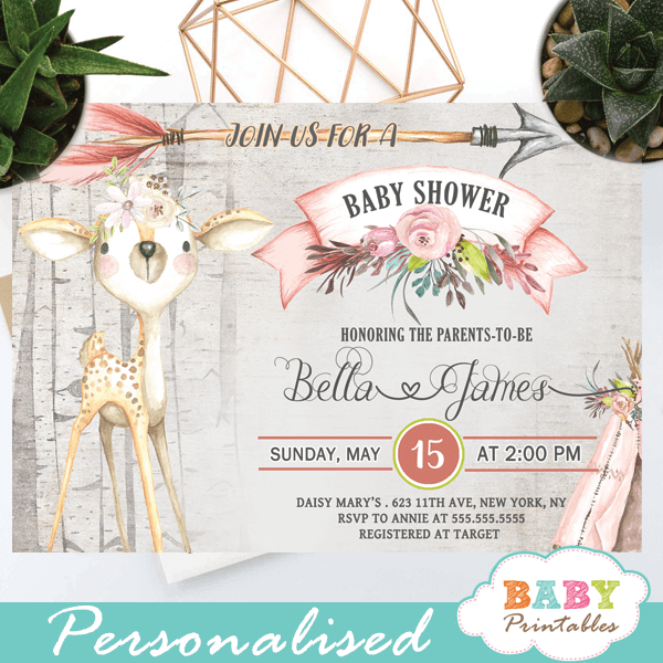 Rustic Woodland Deer Baby Shower Invitations D317