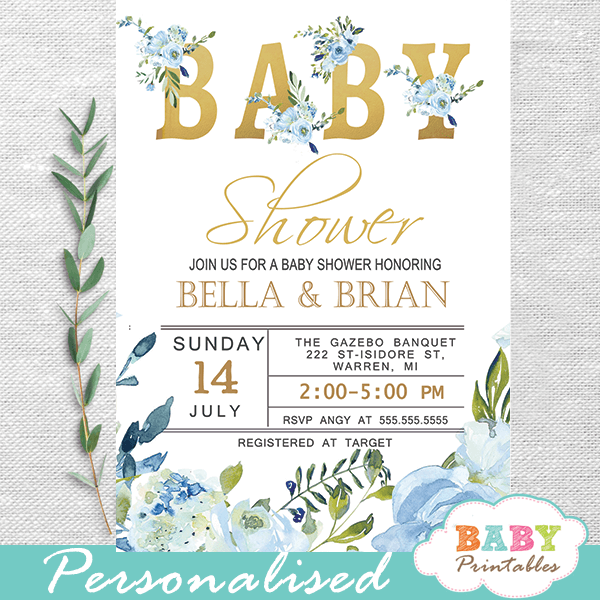 Blue Roses Baby Shower Invitations