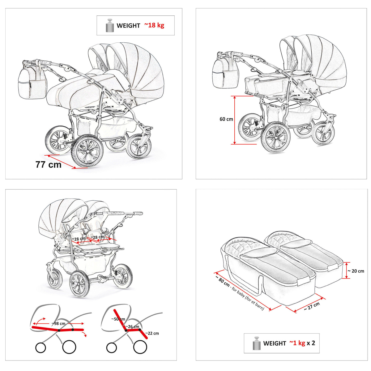 Baby Twin Pram 3 In 1 Pushchair Double Toddler Buggy Twins
