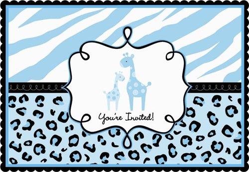 Blue Safari Baby Shower Invitations 20ct