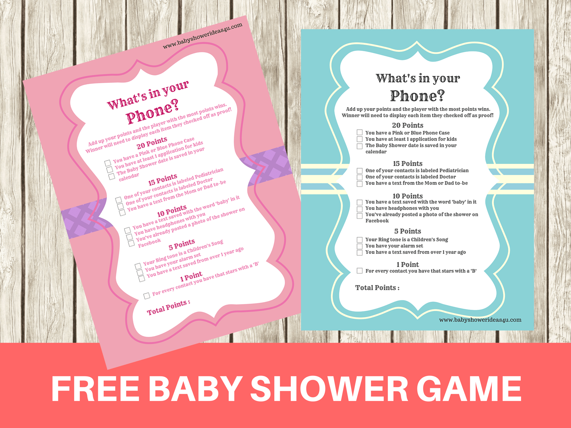 Free Modern What S In Your Phone Baby Shower Printable