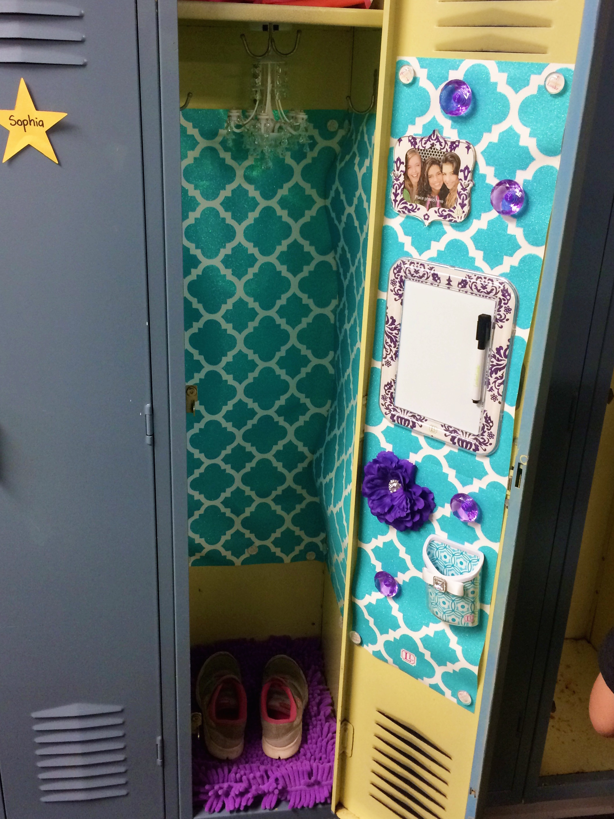The day my daughter won the locker battle ummmm yes to answer your question that is a real chandelier as in holy crap it actually lights up and omg shes hung up wallpaper on the walls arubaitofo Image collections