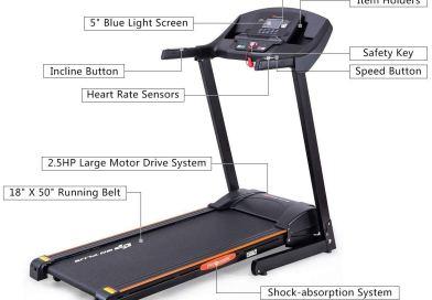 Folding Treadmill Electric Incline Jogging Running Fitness Machine w/App Control, Large LCD Display Black Jaguar Ⅲ