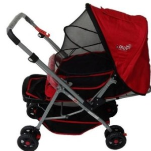 IRDY 829A 3- ways stroller w/ 8 wheels reversible handle w/ mosquito net (red)