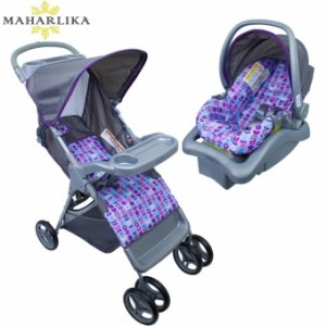 MK Cosco Lift and Stroll plus Travel System portable folding Baby stroller with baby carrier car seat base for baby VIOLET