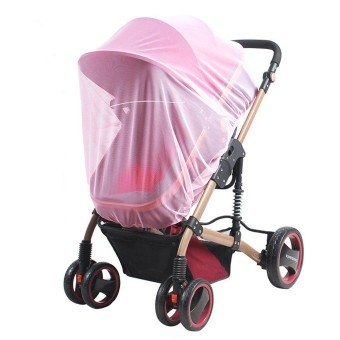 Universal Insect Mosquito Bug Safe Mesh Net Full Cover for BabyPrams Strollers Bassinets Cradles Buggy Pushchairs Pink