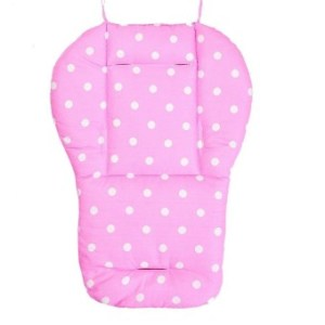 Washable Soft Stroller Carseat Padding Pram Baby Pushchair DotsPrinting Liner Chair Pad- pink - intl