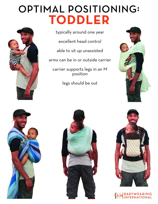"Infographic of a brown skin man wearing a toddler on his front and back in size photos. Title text ""Optimal Positioning: Toddler."" Sub text is a list: typically around one year, excellent head control, able to sit up unassisted, arms can be in or outside carrier, carrier supports legs in an M position, legs should be out."