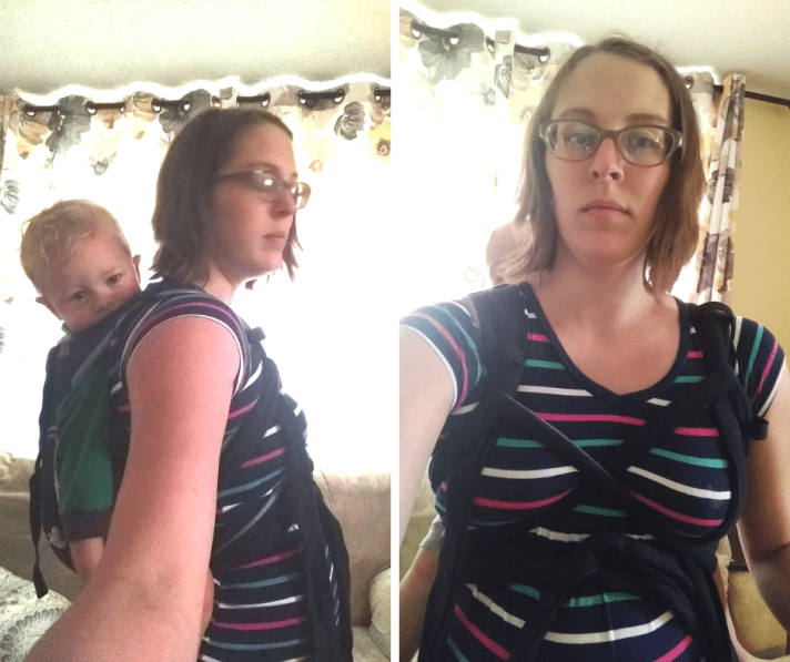 Two image collage of a brown haired bespectacled woman in a colorful striped shirt with meh dai tied Tibetan and waistband tied above pregnant bump.