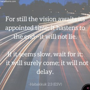 For still the vision awaits its appointed  time; it hastens to the end—it will not lie.If it seems slow, wait for it; it will surely come; it will not delay. (4)