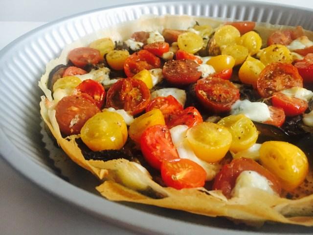 Tarte fine aubergines tomates mozza 3