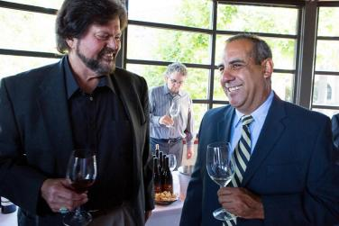 Ed Sbragia, Chris Madrigal (President, Madrigal Family Winery), in background, Peter Palmer (Sommelier)