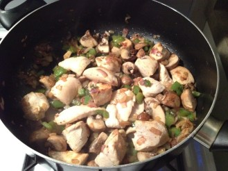 Sautee mushrooms and chicken breasts