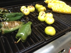 Salsa verde and roasted corn