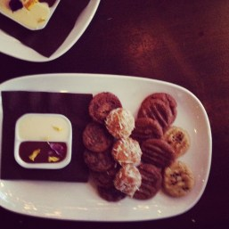 Out of focus dessert tray.