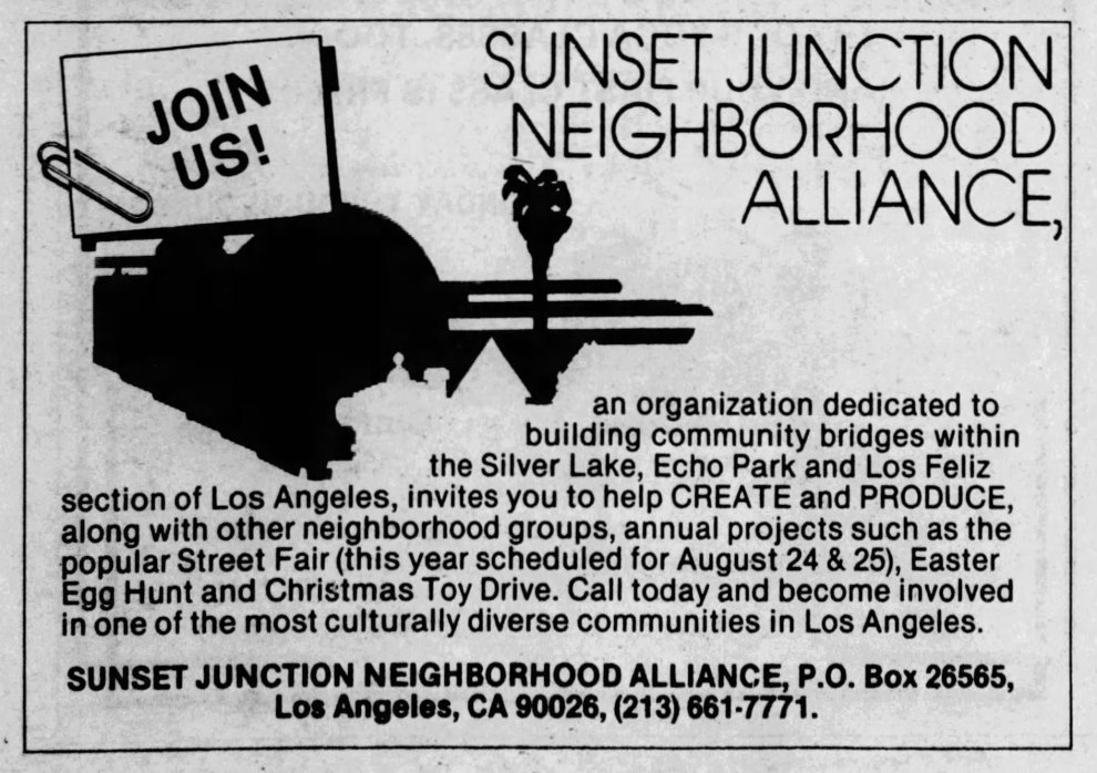 1985 Sunset Junction Ad