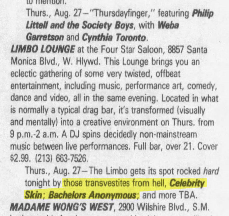 BA at Limbo Lounge Listing