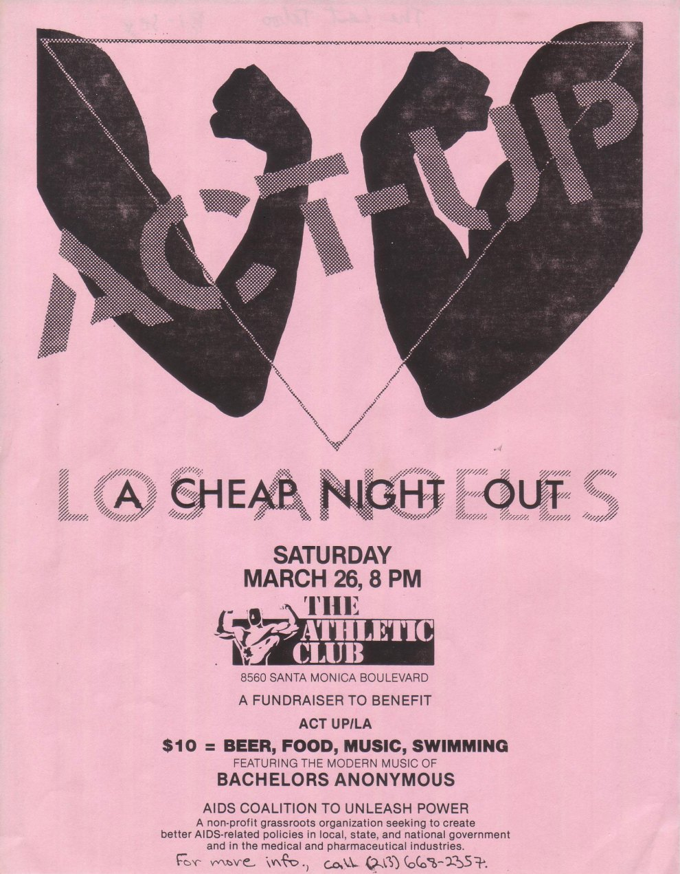 ACT UP/LA Benefit Flyer