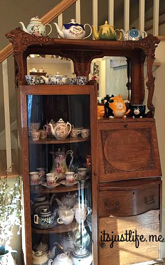 The entry way houses another antique that holds some of my most special teapots and teapot sets.