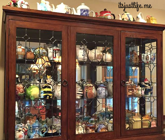 Close up of the china hutch.  It is pretty maxed out but there is still a bit of room on top.  :-)