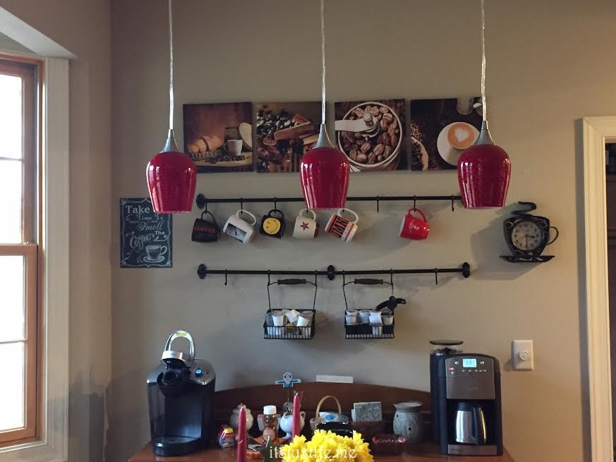 Kitchen after with pretty red pendants (low light when I took the picture but you get the idea.)
