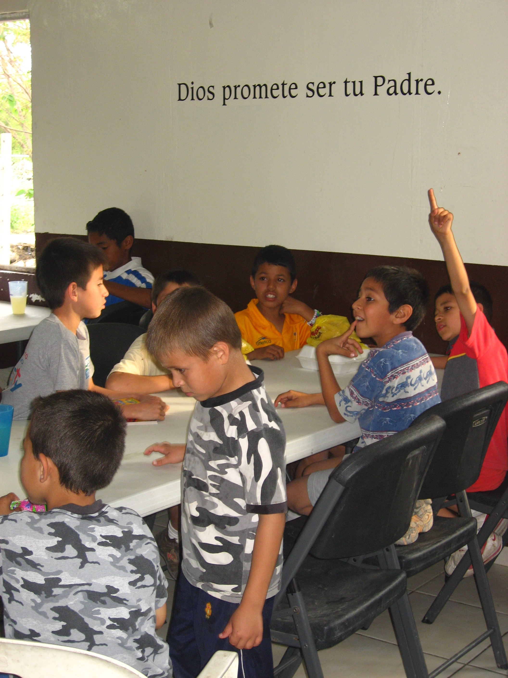 During meal times, the children are reminded of another one of God's promises to orphans found in scripture: God promises to be your Father.