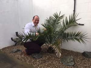 Image shows Doctor of Chiropractic James Revell of Lushington Chiropractic in Eastbourne attending to the plants on the patio of the X-Ray suite.