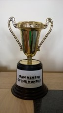 Team member of the month trophy