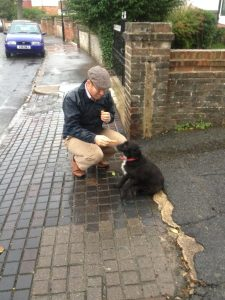Picture showing Eastbourne Chiropractor James Revell Doctor of Chiropractic, LRCC, MSc (Chiropractic Sciences), BSc (Chiropractic Sciences) eating a raw carrot whilst walking his dog.