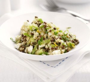 An Image of Quinoa, lentil and feta salad to accompany the blog written by Eastbourne Doctor of Chiropractic Victoria White