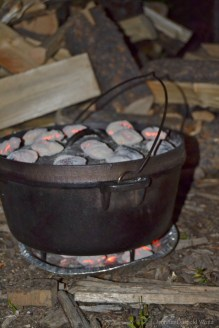 hot coals on Dutch oven cooking