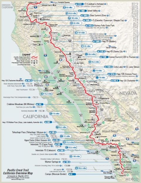 Pacific Crest Trail Hiking Map