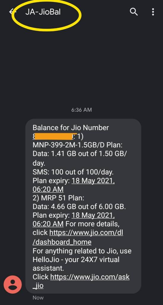 know your jio mobile number